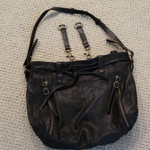 Leather tote soft black